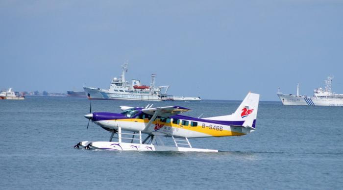 地动态-三亚首架水上飞机